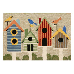 """Trans-Ocean Inc - Birdhouses Multi 30"""" x 48"""" Indoor/Outdoor Rug - Richly blended colors add vitality and sophistication to playful novelty designs. Lightweight loosely tufted Indoor Outdoor rugs made of synthetic materials in China and UV stabilized to resist fading. These whimsical rugs are sure to liven up any indoor or outdoor space, and their easy care and durability make them ideal for kitchens, bathrooms, and porches; Primary color: Neutral;"""