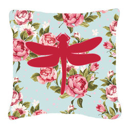 Caroline's Treasures - Dragonfly Shabby Chic Blue Roses Fabric Decorative Pillow Bb1062 - Indoor or Outdoor Pillow from heavyweight Canvas. Has the feel of Sunbrella Fabric. 18 inch x 18 inch 100% Polyester Fabric pillow Sham with pillow form. This pillow is made from our new canvas type fabric can be used Indoor or outdoor. Fade resistant, stain resistant and Machine washable..