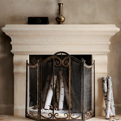 "Horchow - Large Stone Mantel - Exclusively ours. Grandly scaled mantel is handcrafted of crushed stone and resin, making it exceptionally durable but conveniently lightweight. Safe for use outdoors on a covered patio. Exterior: 65""W x 8.25""D x 52""T. Interior: 37""W x 6.75""D x 34""T."