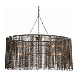 Arteriors Home - Arteriors Home Maxim 4L Iron Beaded Oval Chandelier - Arteriors Home 46763 - Fringe benefits abound when hanging this light in your home. The dual rows of dark brass iron beads gently drape its frame for veiled light filtered through the curtain. The fixture elegantly brightens its surroundings will leave its audience glowing.