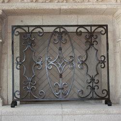 Custom Iron Fireplace Screens - Custom hand forged fireplace screen.