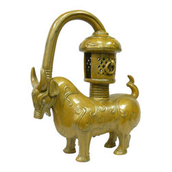 "Golden Lotus - Ceramic Artistic Golden Ox Candle Holder Figure - Dimensions:   w15.75"" x d6"" x h19.25"""