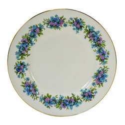 Lavish Shoestring - Consigned 6 Small Plates w/ Blue Flowers & Gilded by Royal St&ard, English - This is a vintage one-of-a-kind item.