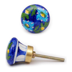 """Knobco - Customer Favorites Knob, Blue And Green With Turquoise And Yellow Floral - Blue and green with turquoise and yellow floral design decorative cabinet hardware from Jaipur, India. Unique, hand painted cabinet knobs for your kitchen cabinets. 1.5"""" in diameter. Includes screws for installation."""