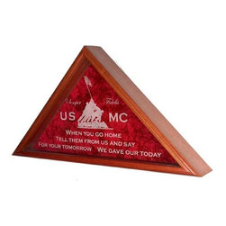 Flags Connections - Marine Corps Flag Case - Large, For 5ft x 9 ft Flag - If you or someone you love has spent time serving your country, then this is the flag case you should have, bar none.  Our Engraved Service Emblem Flag Cases are exquisitely crafted in your choice of solid oak, walnut, cherry, or mahogany.  The double-strength glass front of the flag case is Laser Engraved with your choice of Service Emblem; Air Force, Army, Coast Guard, Marine Corps, or Navy.  The back panel of your flag display case is layered with crushed velvet, making this the preeminent flag display case available anywhere today.