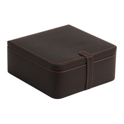 WOLF - Men's Collection Valet Case w/ Watch Traveller in Brown - A sophisticated gentlemans case covered in black croco embossed leather with plush cocoa interior features a 15 piece lift-out cufflink storage tray, two cuffs for watch storage and a removable travel case that holds one watch and accessories.