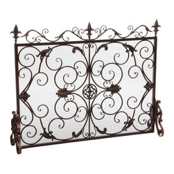 Great Deal Furniture - Darcie Wrought Iron Fireplace Screen, Gold Finish - The Darcie Fireplace Screen is beautifully crafted out of iron and highlights ornate design work on the face of the screen. The sophistication of this fireplace screen adds a refined look to any fireplace filled room.