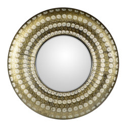 "Concepts Life - Concepts Life Mirror  Luminous Lace Collection  Gold, Round - Searching for a mirror with a modern look, but a vintage feel? Search no more. Our round gold Luminous Lace Mirror will instantly infuse elegance into your room and dress-up any home. With its intricate detailing and delicate perforated patterns, this is the classic statement piece you've been waiting for. Full of volume and brilliance, and complete with a wall hanging hook, this piece is no subtle addition to a space.  Dimensions: 30"" round and 2.5"" deep Weight: 6.5 lbs Iron and mirrored glass Hand welded and hand painting in gold D hooks attached for hanging Imported"