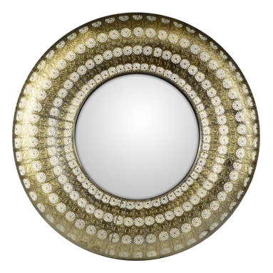 """Concepts Life - Concepts Life Mirror  Luminous Lace Collection  Gold, Round - Searching for a mirror with a modern look, but a vintage feel? Search no more. Our round gold Luminous Lace Mirror will instantly infuse elegance into your room and dress-up any home. With its intricate detailing and delicate perforated patterns, this is the classic statement piece you've been waiting for. Full of volume and brilliance, and complete with a wall hanging hook, this piece is no subtle addition to a space.  Dimensions: 30"""" round and 2.5"""" deep Weight: 6.5 lbs Iron and mirrored glass Hand welded and hand painting in gold D hooks attached for hanging Imported"""