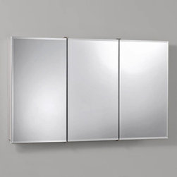 Broan-NuTone - Broan-Nutone Ashland Tri-View 48W x 28H in. Surface Mount Medicine Cabinet 75529 - Shop for Bathroom Cabinets from Hayneedle.com! This extra-wide version of our frameless beveled mirror Broan-Nutone Ashland Tri-View Surface Mount Medicine Cabinet - 48W x 28H in. is available with a lighted mirror atop the unit for plenty of function in your bathroom. The construction is first-rate for use in the bathroom with durable construction and quality laminate that work so well in moist environments. And if you aren't the handiest guy or gal in town fear not. This medicine cabinet comes fully assembled with proper hardware for your enjoyment. There is a mild sense of accomplishment when you install it but it's really pretty easy; relish it anyway!About Broan-NuToneBroan-NuTone has been leading the industry since 1932 in producing innovative ventilation products and built-in convenience products all backed by superior customer service. Today they're headquartered in Hartford Wisconsin employing more than 3200 people in eight countries. They've become North America's largest producer of medicine cabinets ironing centers door chimes and they're the industry leader for range hoods bath and ventilation fans and heater/fan/light combination units. They are proud that more than 80 percent of their products sold in the United States are designed and manufactured in the U.S. with U.S. and imported parts. Broan-NuTone is dedicated to providing revolutionary products to improve the indoor environment of your home in ways that also help preserve the outdoor environment.