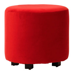 Aroopy - Red Velvet Ottoman - Enhance your dressing room, bath or boudoir with this red velvet ottoman. Velcro fasteners keep the machine-washable cover in place, so it can be easily removed for cleaning or a change in look. Use it as a footstool, seat or side table, or simply savor its seductive qualities.