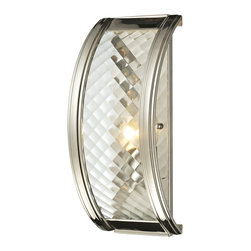Elk Lighting - Elk Lighting Chandler Collection 1 Light Sconce In Polished Nickel - 31460/1 - 1 Light Sconce In Polished Nickel - 31460/1 in the Chandler collection by Elk Lighting This series features a crosshatch patterned glass that exudes dazzling light textures.  The glass is held by a heavy metal frame with stepped rings to further enrich the distinction of the design.  Choose between Polished Nickel with clear glass or Oil Rubbed Bronze with champagne glass.    Wall Sconce (1)