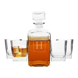 None - Personalized 5-piece Decanter Set - Ideal for any whiskey-lover's home or wet bar collection,this custom-engraved five-piece decanter set features glasses designed to enhance the taste of fine liquors. The custom letter engraving adds class and elegance to this beautiful set.