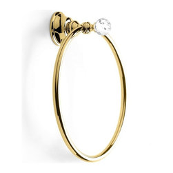 StilHaus - Chrome or Gold Towel Ring with Crystal, Gold - Towel ring with crystal glass.