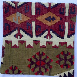 Original Turkish import - Istanbul Turkish kilim pillow cover - Please note item number 7-5-13 and 7-6 if you are interested in matching a set of pillow covers.   These are all cut from the same antique kilim carpet.  Please note, pillow insert is not included.