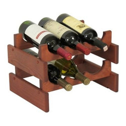 Dakota 6 Bottle Wine Rack - The Dakota 6 Bottle Wine Rack offers a classic display for your favorite wines. Expertly constructed of solid red oak, this six-bottle wine rack is available in your choice of finish. Or, this wine rack also comes unfinished, so you can apply your own custom stain or keep it naturally rustic. Designed for easy expansion and reconfiguring, this versatile piece is perfect for a countertop or floor display. Each Dakota Wine Rack is constructed of eco-friendly solid oak sourced from sustainable North American forests. Designed to endure for years of use, these hardy shelves are finished in a protective UV coating and crafted with smooth, rounded edges for safe storage. Each piece is lovingly crafted in the USA.About Wooden MalletFor over 20 years, Wooden Mallet has been turning Northern Red Oak into beautiful and functional American-made wood products for commercial and residential settings. Wooden Mallet manufactures and distributes various styles of magazine and brochure display racks, chart holders, luggage racks, coat and hat racks, and reception chairs and tables crafted from solid oak sides and components. In addition to a technological manufacturing process, Wooden Mallet also employs a unique finishing process using ultraviolet light to cure the finish into the wood for a more durable, lasting finish. This process meets the emission standards set by the Environment Protection Agency. For the past 10 years, Wooden Mallet has ranked consistently in the top 100 of the Wood & Wood Products, Wood 100 Annual Report for Solid Wood and Panel Technology.
