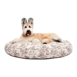 "Toile Dog Bed - Round - Black - 25"" - Pleasantly plump and whimsically adorned for an opulent pet space, the Round Toile Dog Bed is made from cotton canvas and recycled fill that contributes earth-friendliness to a design of surpassing elegance � but a touch of humor that suits the pet-loving personality.  Offer your dog a palatial rest with this piped circular pet bed in a detailed pattern."