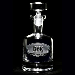 Crystal Imagery, Inc. - Rye Banner Decanter - You'll be the catcher in the rye with this luxury glass decanter that's been crafted to hold 38 ounces of your favorite spirit. With its custom-etched label on the side, it will provide a touch of sophistication to any barware collection.