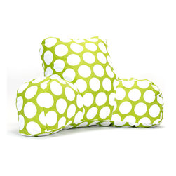 Majestic Home - Indoor Hot Green Large Polka Dot Reading Pillow - Whether you're settling in with a good book, gearing up for your favorite show or just chilling out, you're in good arms with this reader. Another reason to relax? It's so easy to care for. Simply unzip the slipcover and toss in the machine.
