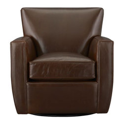 Streeter Leather Swivel Glider - Glide back and forth in this luxurious leather chair, cushioned for comfort. Top-grain, aniline-dyed leather is finished with self-welting.