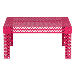 Rouge Coffee Table - It's always interesting to throw some pink into a space. The perforated surfaces keep it modern and cool.