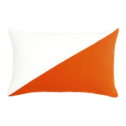 LaCozi - Duo Persimmon & Cream Throw Pillow - - Dual colored square pillow (available in 12''x20'' and 20''x20'')