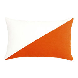 LaCozi - Duo Persimmon and Cream Throw Pillow - - Dual colored square pillow (available in 12''x20'' and 20''x20'')