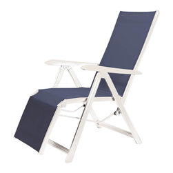 Kettler - 24 in. Relaxer with Arm - High quality sturdy aluminum frame with stainless steel joints. Quick drying sling guarantees comfortable ergonomic seating. Backrest easily reclines for four comfortable seating positions. Elevated leg section. Easily folds for compact, self standing storage. Coordinating solid-polymer armrests remain cool to the touch. Replaceable foot glides. Frames are guaranteed for a period of two years and slings for one year on residential use. Made from aluminum and sling. White and navy color. No assembly required. 24 in. W x 30 in. D x 43.5 in. H (21 lbs.). Weight limit: 270 lbs.