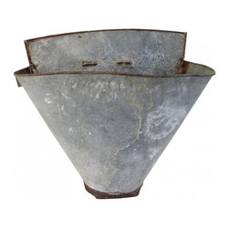 Grape Harvest Bucket - A french galvanized grape harvesting basket with all the desirable signs of a tie worn piece. Wonderful hung on the wall.