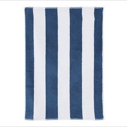 PB Classic Stripe 650-Gram Weight Jacquard Hand Towel, Lapis Blue - Wide stripes adorn our PB Classic Stripe Bath Towels. At a hefty 650 grams, the absorbent Turkish terry towels are yarn dyed for exceptional softness. 650-gram weight. Combed cotton ensures long, uniform fibers. Plush, soft towels have superior loft and absorbency. Features pleated dobby trim. Hand and bath towels may be monogrammed. Coordinates with the Pottery Barn Classic Bath Collection. Machine wash. Oeko-Tex certified, the world's definitive certification for ecologically safe textiles. Made in Turkey. Catalog / Internet only.