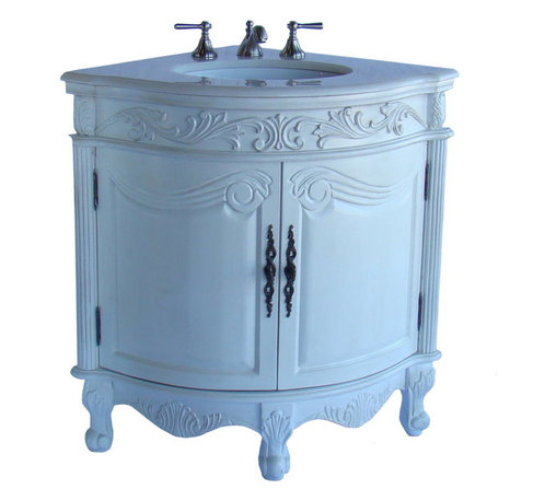 """Benton Collection - 24"""" Antique White Corner Shape Bayview Bathroom Sink Vanity Model #Q030W-Aw - Dimensions: 24 x 24 x 34""""H  approx."""