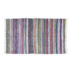 Large 6' x 4' Striped Moroccan Boucherouite Carpet - A lovely handwoven boucherouite 6'x4' carpet made of recycled fabrics in bright, jazzy colors with freewheeling design. Berber women in Morocco began creating these rugs for their personal use in the 1960s, now you can enjoy their whimsy in your home!