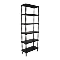 Noir - Noir - Isabelle Bookshelf, Hand Rubbed Black - Hand Rubbed Black Mahogany Wood