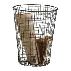Design Ideas - Cabo Wire Trash Bin - With an industrial edge and vintage style, our Wire Trash Bin from the Cabo Collection is likely the coolest wastebasket you'll come across. Hand-woven with rustic charm, this mesh wastecan makes a stylish home for wrapping paper, table runners, toys in the playroom and documents you plan on shredding or recycling.