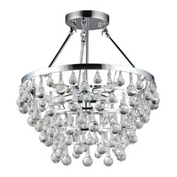 Warehouse of Tiffany - Crystal Grand Chandelier - This beautiful chandelier from Warehouse of Tiffany features a chrome base with beautiful dangling glass accents. This 5-light grand chandelier will add style, class and much-needed illumination to any room in your home. Setting: IndoorFixture finish: ChromeNumber of lights: Five (5)Requires five (5) 60-watt bulbs (not included)Dimensions: 16 inches high x 16 inches in diameterThis fixture does need to be hard wired. Professional installation is recommended.