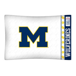 Sports Coverage - NCAA Michigan Wolverines Microfiber Pillow Case - Officially licensed NCAA Michigan Wolverines Microfiber coordinating pillow case to match Comforters, Pillow sham, Bedskirts and Draperies. The Pillowcase only has a white-on-white print and the officially licensed team name and logo printed in team colors. Made from 92 gsm microfiber for extra stability and soothing texture and is 100% Polyester. Wrinkle resistant and stain-resistant. Get your NCAA Pillow Case Today.   Features:  -  92 gsm Microfiber,   - 100% Polyester,    - Machine wash in cold water with light colors,    -  Use gentle cycle and no bleach,   -  Tumble-dry,   - Do not iron,   - Pillow case Standard - 21 x 30,