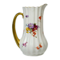 Lavish Shoestring - Consigned Floral Water Jug by Royal Doulton, Antique English, circa 1900 - This is a vintage one-of-a-kind item.