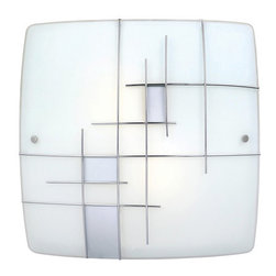 Eglo - Eglo 90383A 2 Light Flush Mount Ceiling Fixture from the Raya 1 Collection - Eglo 90383A Raya 1 2 Light Flush Mount Ceiling FixtureThis piece is as much a an artistic statement as it is a light fixture, this flush mount ceiling fixture from the Raya 1 Collection features Square Shaped White Glass with Silver / Chrome Finish accents. Make a statement with this highly artistic piece. This dynamic fixture can be mounted as a ceiling fixture or a wall sconce.Eglo 90383A Features: