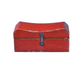 Antique Revival - Red Vintage Cathay Pillow Box - This handcrafted, vintage jewelry pillow box was formerly used to store jewels and other small valuables. You can easily store any kind of small knick knacks inside, and the unique, curved shape adds an interesting accent to any dresser, armoire or nightstand. The distressed finish gives it the perfect rustic, vintage look and the bright red paint adds a pop of color.