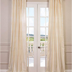 Half Price Drapes - French Ivory 108 x 50-Inch Dupioni Silk Curtain Single Panel - Beautiful dupioni silk drapes exquisitely made for you. A timeless style that will work in any home dandeacute;cor. These panels offer a 3 in one header for multiple hanging style. As a general rule for proper fullness panels should measure 2-3 times the width of your window/opening.  - Top Pocket Construction: Pole Pocket  - Lined  - Sold Per Panel  - 100% Silk  - 3-Inch Pole Pocket with Hook Belt  - Care Instructions: Dry Clean Half Price Drapes - CID-CD003-108