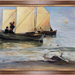 "overstockArt.com - Kroyer - Fishingboats - 24"" X 36"" Oil Painting On Canvas Hand painted oil reproduction of a famous painting by a danish painter Kroyer Fishingboats . This is a remarkable oil painting with exceptional use of color, detail and brush strokes. Today the painting has been carefully recreated detail-by-detail, color-by-color to near perfection. Peder Severin Kroyer (1851 - 1909), known as P. S. Kroyer, was a Danish painter. He is one of the best known and beloved, and undeniably the most colorful of the Skagen Painters, a community of Danish and Nordic artists who lived, gathered or worked in Skagen, Denmark, especially during the final decades of the 19th century. Kroyer was the unofficial leader of the group."