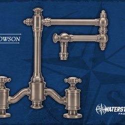 "Bridge Faucets - Our new Traditional style Towson Bridge Faucet, blends an elegant, classic style with the quality and craftsmanship you expect from Waterstone. Solid brass construction. The Towson offers a choice of a 12"" or 18"" articulated spout. Available with levers or cross handles. Two decorative handle caps included. Available in 31 elegant finishes. Shown in Antique Pewter."