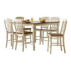 Homelegance - Homelegance Ohana Square Counter Height Table in White - The design of Ohana collection captures the essence of a casual country home. Its antique white and warm cherry, or antique black and warm cherry finishes give it a striking 2-toned appearance.
