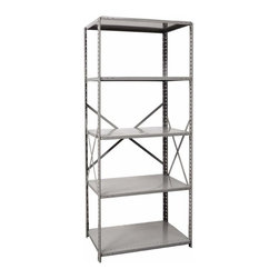 Hallowell - 87 in. High Hi-Tech Medium-Duty Open Shelving in Gray Finish (36 in. W x 12 in. - Depth: 36 in. W x 12 in. D x 87 in. H. Constructed of steel with a braced back and sides for strength and durability, this open shelving unit is a perfect way to add storage in a basement, garage or workshop space. Available in your choice of both size and finish option, the unit can keep a wealth of items organized and easily accessible. Open style with sway braces. 5 Adjustable shelves. Fabricated from cold rolled steel. Welds are spaced 3 in. on center to provide maximum strength. Sides are triple flanged to form a channel. All 4 corners are lapped and resistance welded to provide a rigid corner and add extra strength to the shelf. Tubular front edge is designed to protect against impact loads. 36 in. W x 12 in. D x 87 in. H. 36 in. W x 18 in. D x 87 in. H. 36 in. W x 24 in. D x 87 in. H. Assembly required. 1-Year warranty