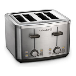 Calphalon 4 Slot Stainless Steel Toaster - The Calphalon 4 Slot Stainless Steel Toaster makes breakfast a snap. The extra-wide slots accommodate bagels, English muffins, and even thick slices of artisan breads. The Defrost setting is ideal for frozen waffles and toaster pastries. The Bagel setting toasts bagels perfectly on the inside. Opti-Heat system ensures accurate temperature control and even heat delivery. Dual controls for each set of slots for separate shade selection. Designed with a sleek, brushed stainless steel exterior, its a great choice for your busy kitchen.