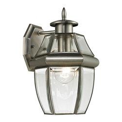 Elk Cornerstone - One Light Clear Beveled Glass Antique Nickel Wall Lantern - One Light Clear Beveled Glass Antique Nickel Wall Lantern