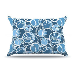 """Kess InHouse - Julia Grifol """"Simple Circles in Blue"""" Pillow Case, Standard (30"""" x 20"""") - This pillowcase, is just as bunny soft as the Kess InHouse duvet. It's made of microfiber velvety fleece. This machine washable fleece pillow case is the perfect accent to any duvet. Be your Bed's Curator."""
