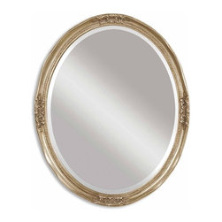 "Uttermost - Newport Silver Leaf with Gray Glaze Oval Mirror - Oval mirror features a frame with an antique silver leaf finish and heavy gray glaze. Mirror is beveled. Frame Dimensions: 25""W X 31""H X 1.5""D; Mirror Dimensions: 28""W X 22""H; Finish: Silver Leaf with Gray Glaze; Material: Urethane; Beveled: Yes; Shape: Oval; Weight: 23 lbs; Included: Brackets, Ready to Hang; Shipping: Free Shipping via UPS 7 - 10 Business Days"