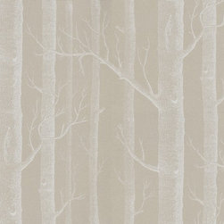 Cole & Son Wallpapers - Woods | WallpaperDirect - Woods (69/12149) - Cole & Son Wallpapers - Woods (Michael Clark 1959): A striking design sketched from trees and branches, making a unique repeat in an easy to use paste the wall wallcovering. showing in white on taupe - Available in other colours. Please ask for sample for true colour match.