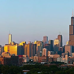 Magic Murals - Chicago Willis Tower Panorama Wall Mural -- Self-Adhesive Wallpaper by MagicMura - The Hancock Tower and Willis Tower are most visible in this panoramic mural of Chicago's skyscraper filled skyline.